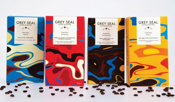 Irina Cobzas - Grey Seal coffee packaging design. Four boxes of coffee in different colours (blue, red, brown and yellow) with swirling shapes