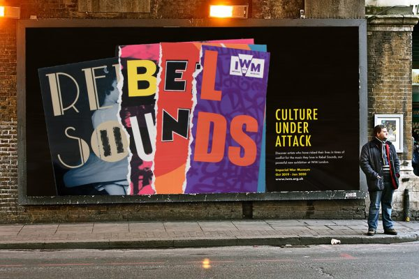 Lauren Kirby - Branding for Rebel Sounds using letters from different sources, with a ripped paper effect on a billboard