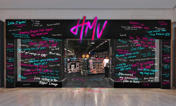 Ryan Hayes, Jess Edwards & Tyler Pearce - HMV storefront design, with hand written music memories across the windows, in blue, white and pink