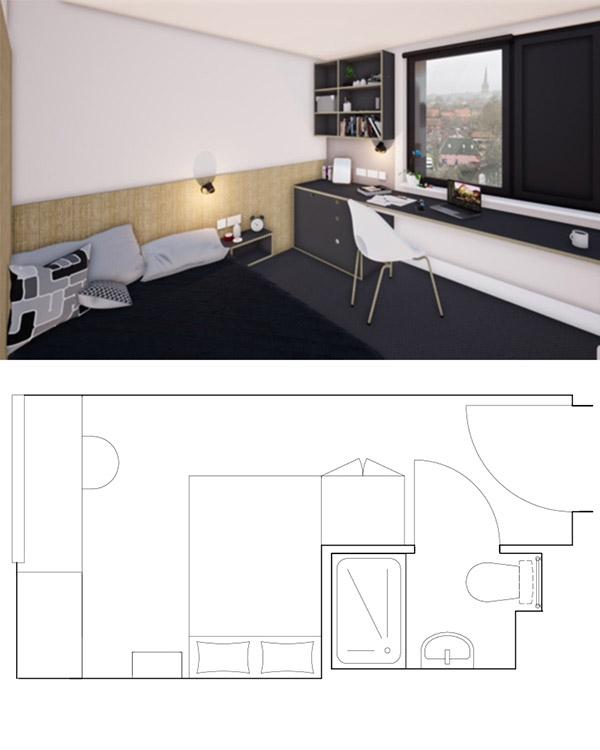 floor plan on bottom half and render of bedroom in Crown Place on top