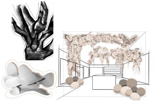 Alice Garner - Interiors moodboard, with a scale room drawing. Abstract decor and floral arrangements on the ceiling