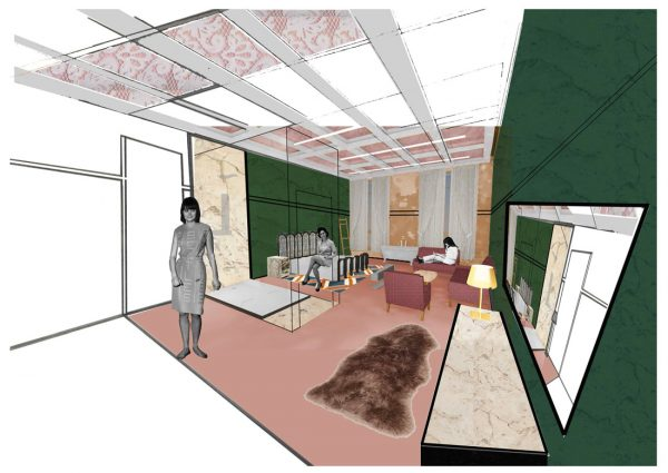 Amanpreet Kaur - Interior design concept for a hotel style room, with luxe furniture and seating area