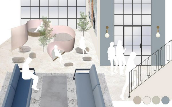 Gabrielle Austin - Interior design concept with various types of seating area in all pastel colours