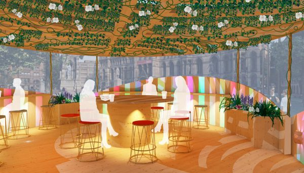 Isabella Elsworth - Public seating area design inside a wooden structure, with a living roof filled with greenery and flowers