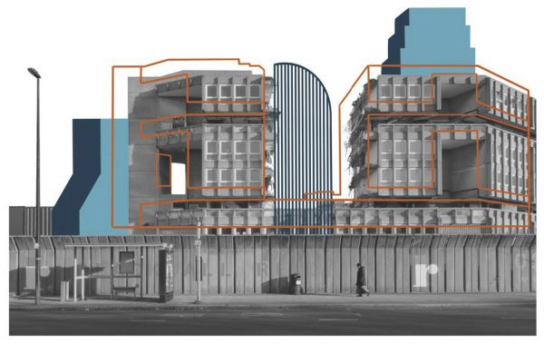 Liz Barrell - Photo of a block of housing with linear drawing over to outline how the shape can change and become more modern