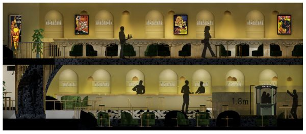 Madeleine Greeves - Interior design concept for a two floor bar. With bar seating area, film posters and planting