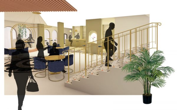Madeleine Greeves - Interior design concept featuring a bar area, communal seating areas and stairs, in gold, cream and pink colours