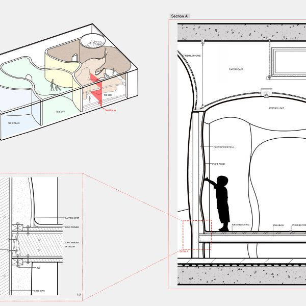 Natalia Radomska - Scale cross section drawings of the structure of a children's play area, labelling different materials used