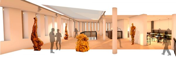 Patricia González - Panoramic interior design render for a gallery space, with space for installations and a cafe