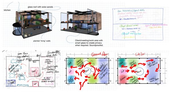 Philippa Robinson - Interior design plans for an office space