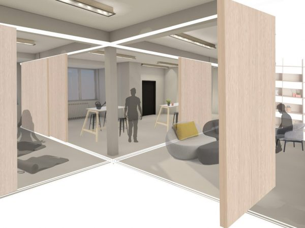 Rebecca Lambert - Interior design layout of a collaborative workspace, with desks, seating and yoga areas