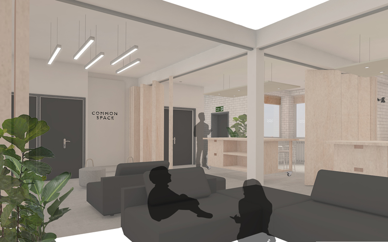 Digital render of an interior space based on the concept of cohousing. A common space layout with sofas, coffee tables, storage and desk space made from natural wood materials