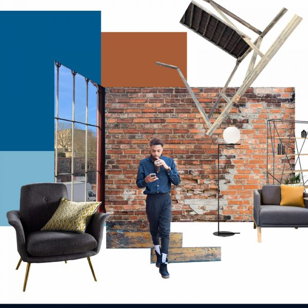 Rebecca Sayer - Interiors moodboard of a modern apartment, with exposed brick wall, floor to ceiling windows, modern minimalist furniture and a man on a mobile phone