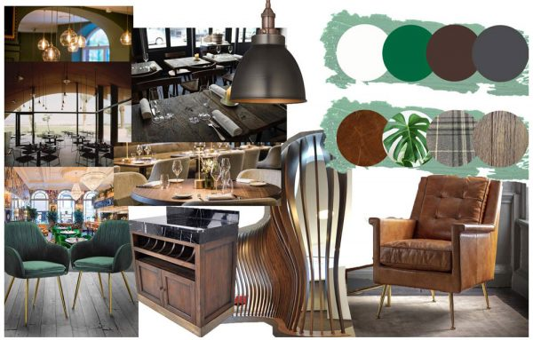 Tempany Martin - Interiors moodboard of furniture, plants, lighting and carpentry