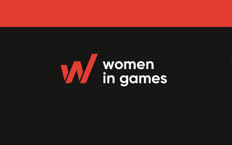 Black rectangle with a red line at the top and white text reading women in games next to a big red W