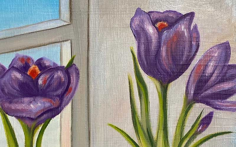 Close up of a painting showing the corner of a window and purple flowers with green stems