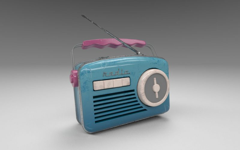 A digital creation of a blue radio with a pink handle