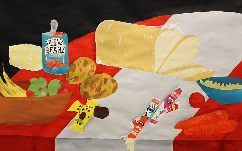 Brightly coloured painting of food items on a red and white tablecloth