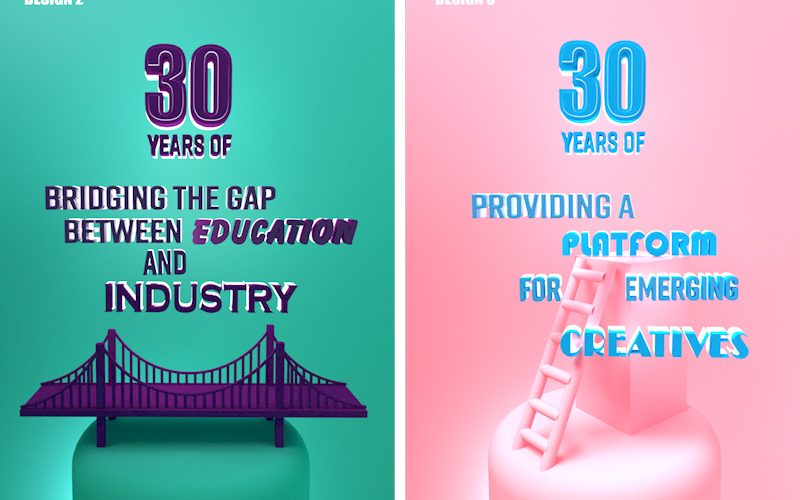 Two poster designs for the Graduate Fashion Foundation 30th anniversary. On the left, a green poster with purple typography and a purple 3d rendered bridge. On the right, a pink poster with blue typography, and a pink 3D rendered ladder