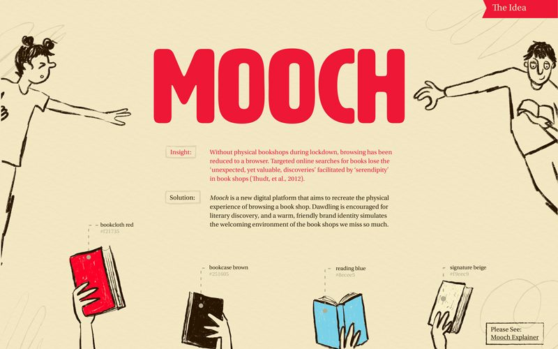Concept explanation for Mooch, a digital platform to find a new book. Illustrations of hands holding books coloured in red, blue, brown and beige. The word Mooch is in big red capital letters