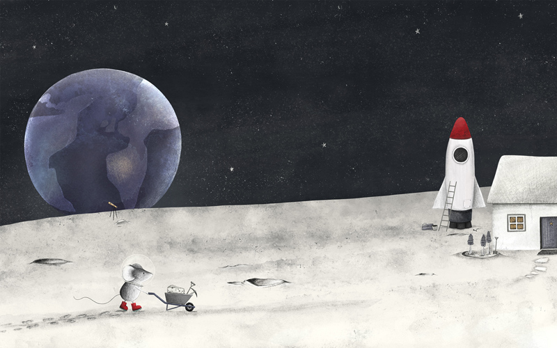Children's book illustration of a space scene. A mouse is on the moon surface, wearing a space helmet and red boots. The mouse is wheeling a lump of cheese in a wheelbarrow towards a house with a rocket parked next to it. Earth is floating in the background amongst the stars