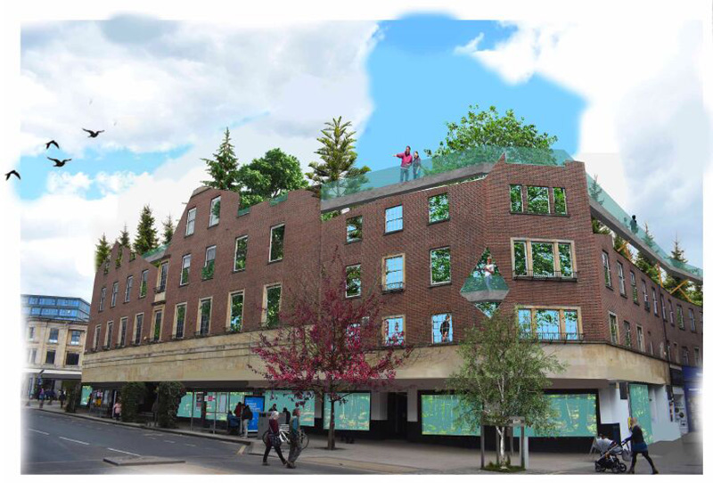 Architectural illustration reimagining the retail space previously occupied by Debehnams in Norwich. Exterior illustration of the building