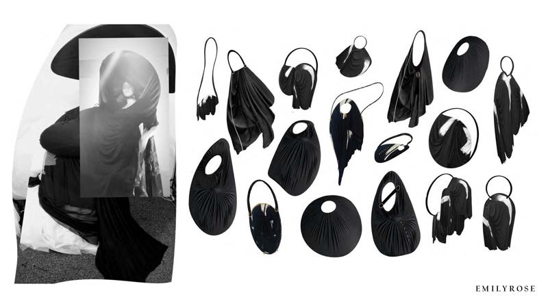 A selection of warped circular black handbags designed by BA Fashion student Emily Rose