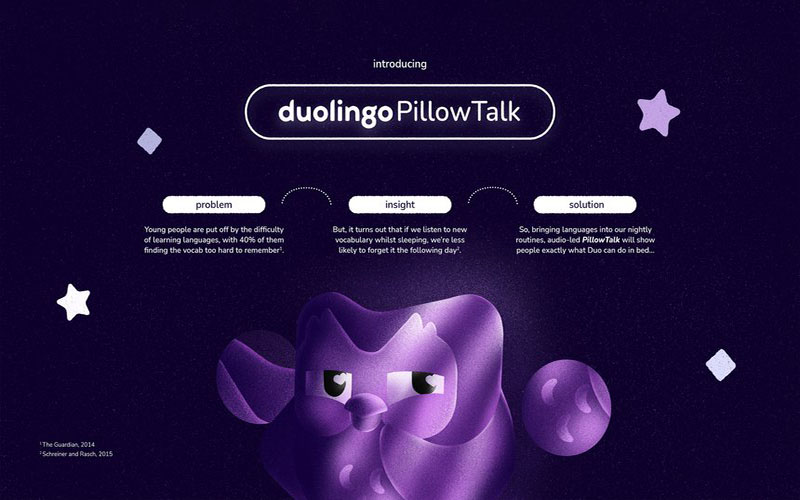 Promotional design for Duolingo, with a purple owl illustration on a dark purple background. By Ruby Douglass, Ben Sanderson and Lily West, BA Graphic Communication