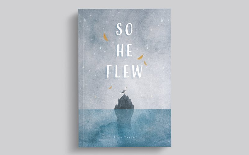 Mockup of a book cover for 'So He Flew'. A scenic illustration of a lone seagull on top of a single rock in the ocean
