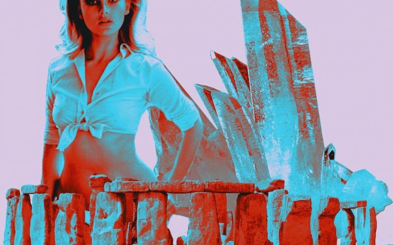 A pink background with an abstract image of Stonehenge and a woman in a crop top collaged on top with some crystals