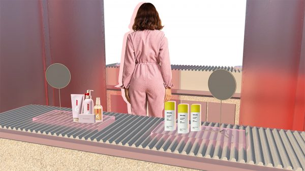 Alice Garner - Student work by Alice Garner showing collage image of Glossier inspired products in a concept store