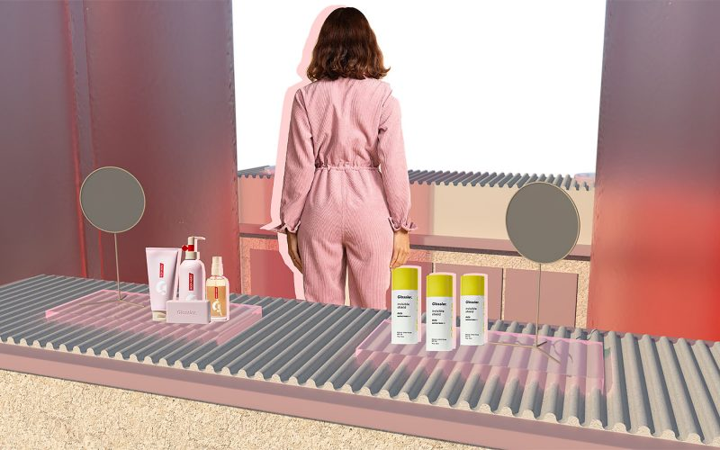 Student work by Alice Garner showing collage image of Glossier inspired products in a concept store