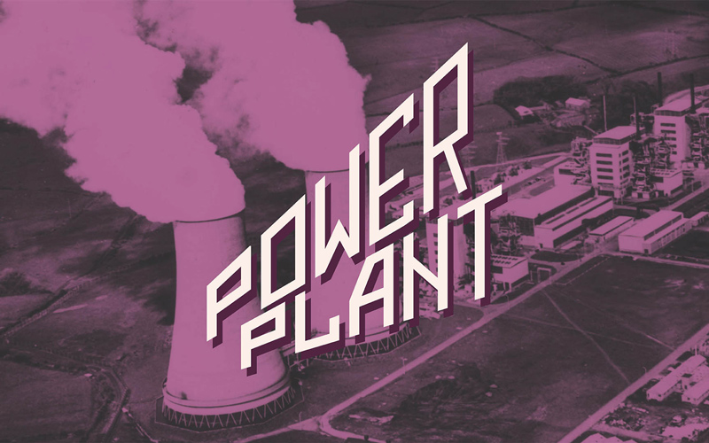 Purple and white sans serif logotype for 'Power Plant' drinks, on top of an image of a nuclear plant tinted purple