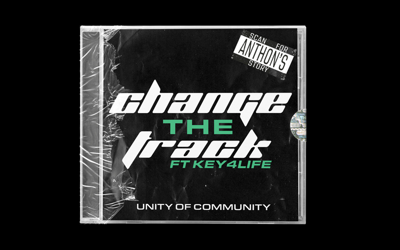 A mockup of CD packaging on a black background. On the CD cover it says 'Change the Track' as part of a campaign designed by Molly Mitchell, BA Graphic Communication
