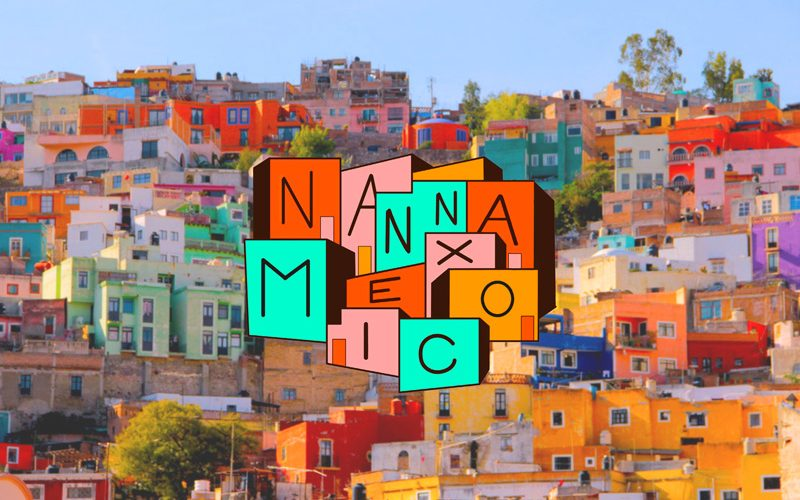 Landscape photo of multicoloured houses in Mexico City. Illustrated over the top of the houses is a logo for 'Nanna Mexico'. designed by Katie Collins, BA Graphic Design. Each letter of the logo is on a different coloured square, matching the houses in the landscape